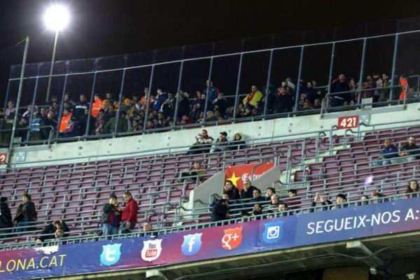 Barcelona fan are fewer entering the stadium than expected. Fan arriving for the Camp Nou match between Barcelona and Valencia were less than half the stadium's capacit